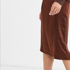 Asos silk brown skirt